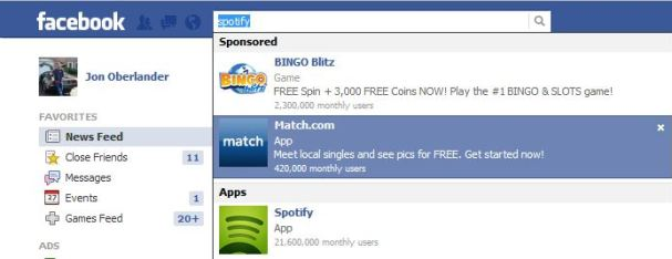 FB sponsored result