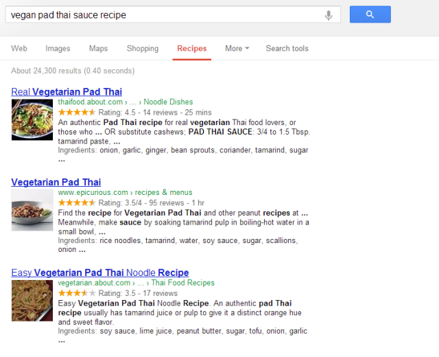 structured data recipe serps