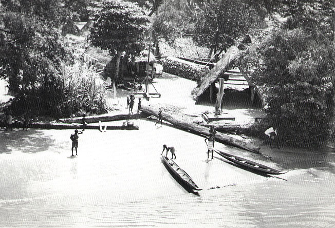 A Maroon village on the Suriname River. Maroons were escaped slaves who founded towns and villages, continuing to live the way they did in Africa.