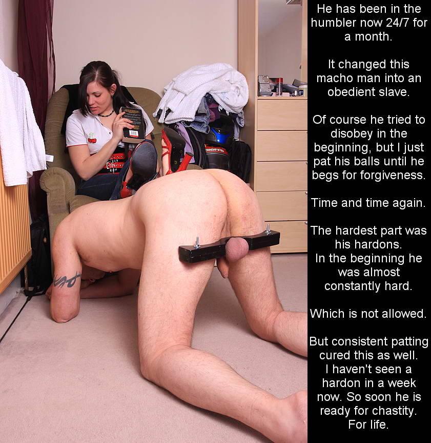 chastity keyholder fondles his balls captions
