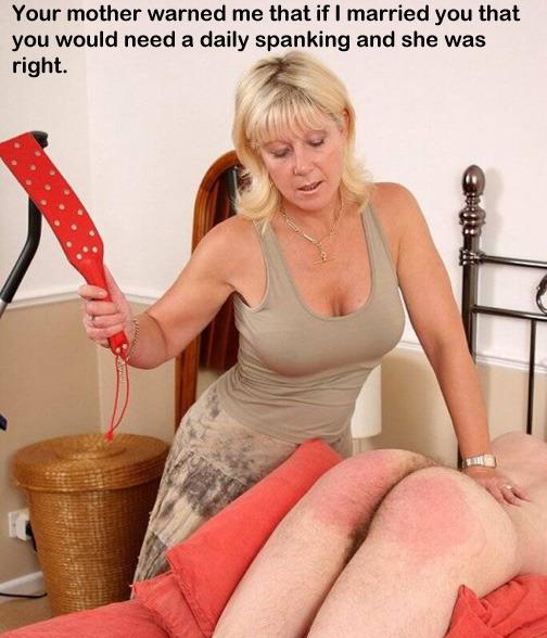 mother strapon caption