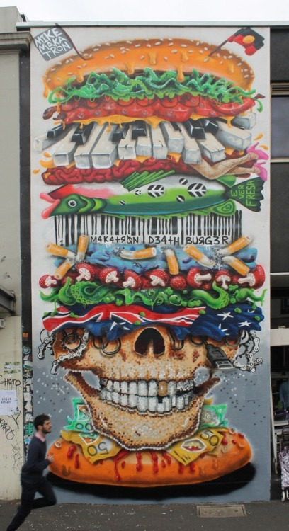 streetartglobal:  The McDeath Burger by Melbourne's @mike_maka - http://globalstreetart.com/makatron