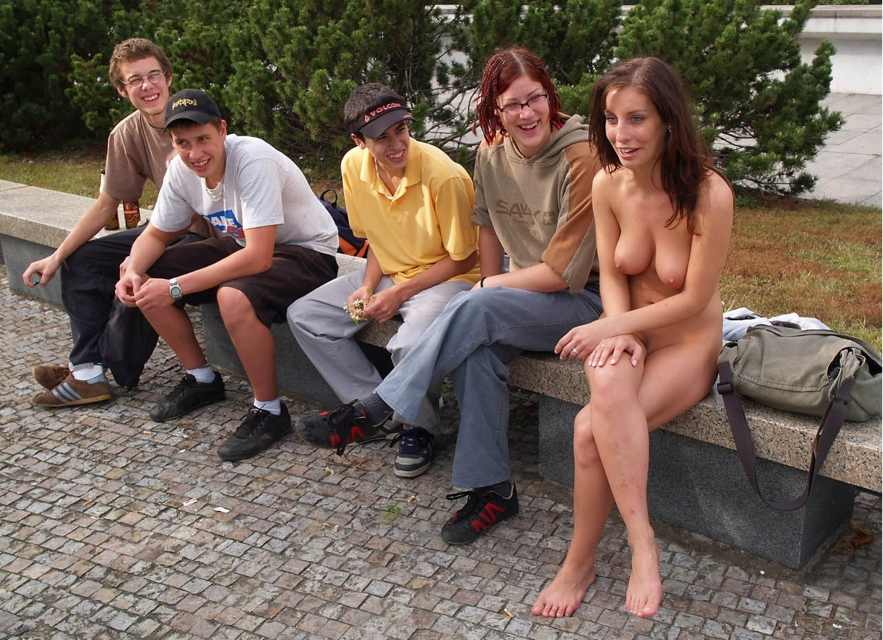 girls stripped naked in public