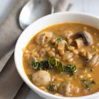 Curried Lentil Kale Soup with Mushrooms