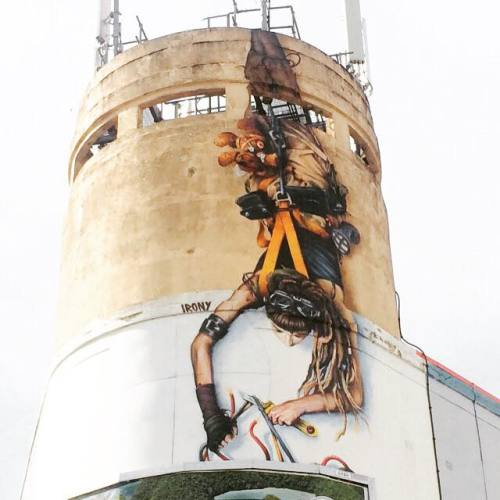 urbanartlab:   Watched this piece come together by Irony paints on things. at Upfest - The Urban Paint Festival Bristol.