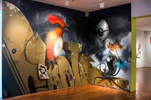 1ill510-illflicks:  3D so tuff makes you wanna snatch the #ladybugs off the wall. #powwowlongbeach #craola #gregsimkins #socalswing #creativityintheair #fineart #graffiti #murals #goodstuff #colorrich