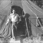 Albert Bettencourt in front of his tent