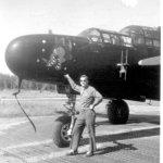 "P-61B-6 at Fritzlar Air Base, Germany. Rich Ziebart with the ""Dragon"" in May, 1946"