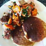 Happy Saturday thanks to mykitchfix paleo bananapancakes sweetpotato sausagehash foodpornhellip