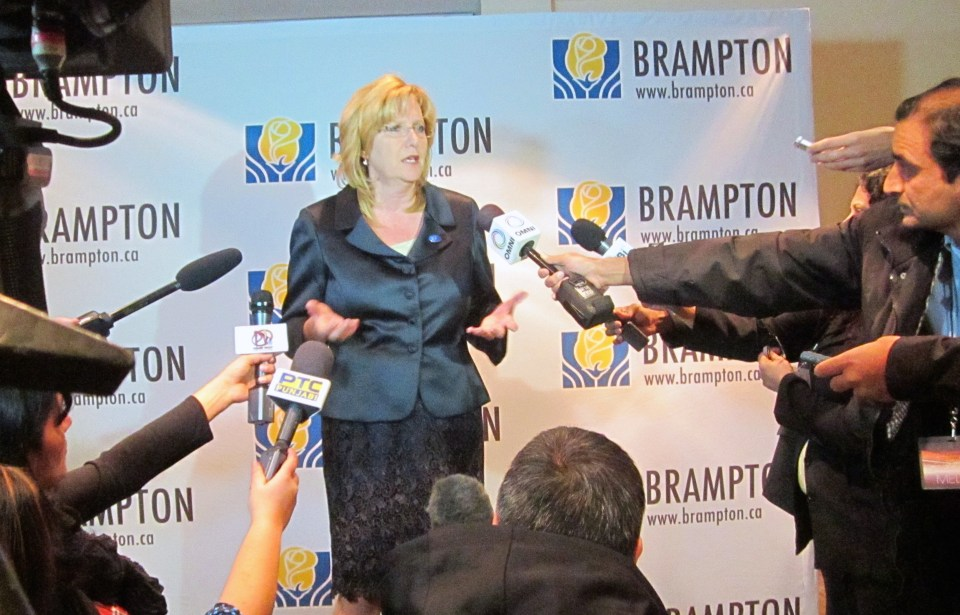 Mayor Linda Jeffrey answering questions from the media on the night of her inauguration.
