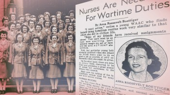 © Lois Shelton and Maggie Smith, The Nurses' Tunnel, 2012, video stills, King County Public Art Collection. Photo of nurse cadets in front of Harborview Hall and call for nurses to join the Red Cross Reserve c. 1940 courtesy of University of Washington Libraries, Special Collections.