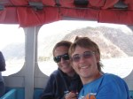 Anna and Kylan enjoying a fast boat ride