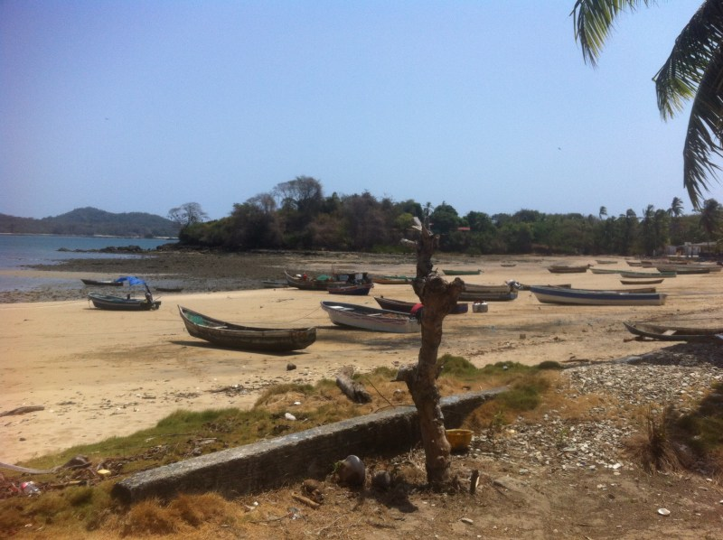 Fishing boats parked on the beach at Isla Canas