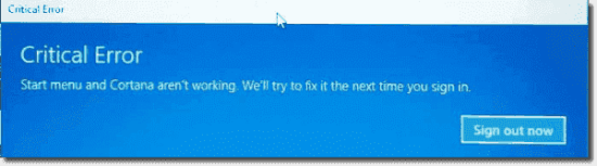 Example of Cortana load failure whilst using a roaming profile