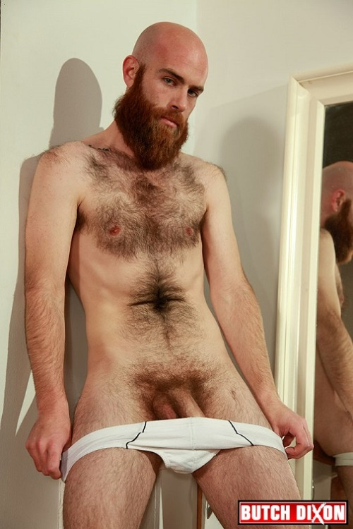 very hairy muscular man