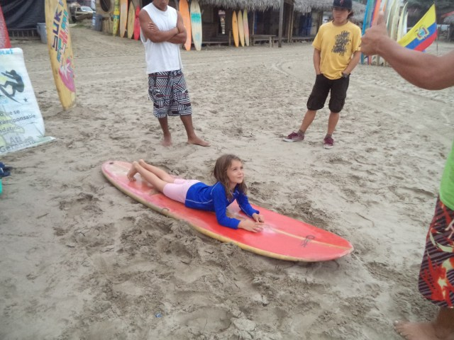 Amy's first surf lesson.
