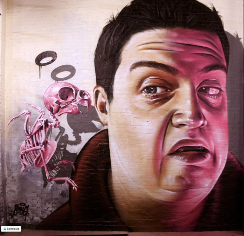 crossconnectmag:Street artist: Smug One  Australian-born artist based in Glasgow, Smug One is probably the most popular among all photo-realistic street artists. He literally paints every kind of subject with a perfect technique and yet paradoxically you don't need to see his sign to guess the author. Maybe it is about the tweak of humor, the irreverent way he uses Pop culture, his technical degree of mastering the spray, or simply Smug One being naturally himself: from another planet.Check our Twitter and Facebook for more original ArtSelected by Very Private Art