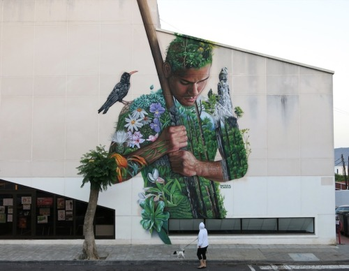 """crossconnectmag:Street artist: Sabotaje al Montaje Matías Mata is a Spanish artist from the Canary Islands. He began to paint on the streets since 1990 and was participating in international events since 1998. The name Sabotaje al Montaje reflects Matías' views about a """"contaminated"""" society, controlled more and more by multi-national companies, motivated by greed and profit. His art talks about the system, a big lie of society and the world. The sabotage strikes out against it and I do it with colour and paint.Check our Twitter and Facebook for more original ArtSelected by Very Private Art"""
