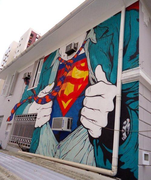 streetartglobal:  By @leandroshesko in Brazil - http://globalstreetart.com/shesko#globalstreetart https://www.instagram.com/p/BF4rOyMAEFN/