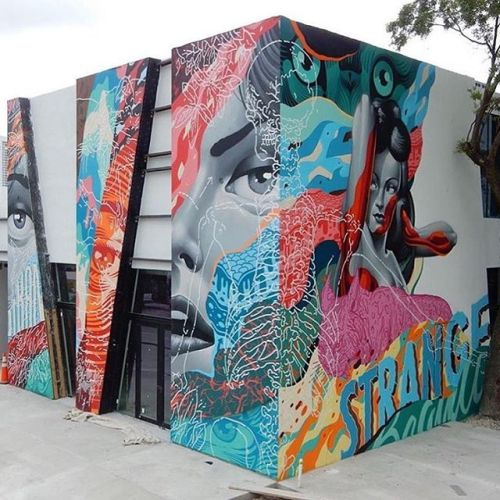 powwowblog:  New mural by @tristaneaton in Miami, Florida for @wynwoodarcade. // Photo by @the_villainess.