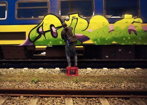 spraydaily:  Crew painting in The Netherlands!Photo @mjayphotos—#graffiti #SprayDaily #граффити #Grafiti #spraycanart #sprayart #Graffity #Instagraff #Graff
