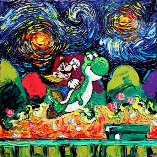 widewalls-artmagazine:  This is what you get when you combine pop culture icons with Van Gogh's most iconic works These witty artworks were painted by Aja Kusick http://www.widewalls.ch/artist/vincent-van-gogh/