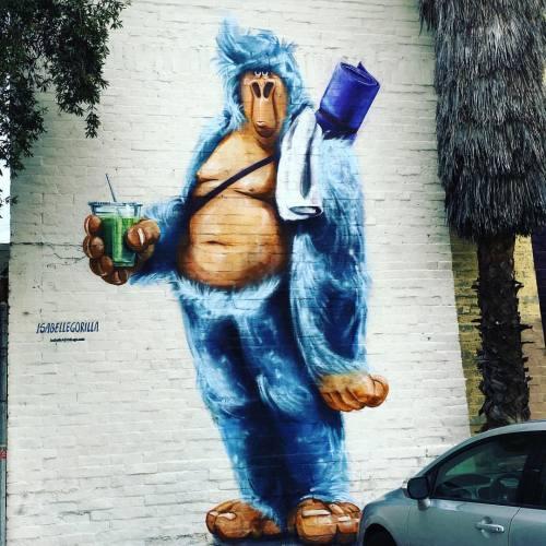 lostangelesstreetart:  @isabellegorilla #streetart #losangeles #gorilla #art #streetartist #yoga #urbanart #rsa_graffiti #rsa_preciousjunk #rsa_streetview #dsb_graff #artist #arte #arteurbano #royalsnappingartists #tv_streetart #infamous_family #igla #igersla #LA #isabellegorilla #dtla (at The Springs)