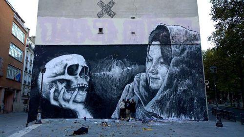 streetartglobal:  Nice piece by @alanizart in #France#globalstreetart #skull #muralhttp://globalstreetart.com/alaniz https://www.instagram.com/p/BLrPILTAVF_/