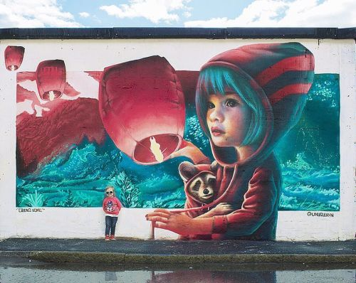 streetartglobal:  Dreamy artwork by @linuslundin#globalstreetart #sweden #racoon #artwork #scenery #dreamshttp://globalstreetart.com/yash https://www.instagram.com/p/BI96TOJj4kb/