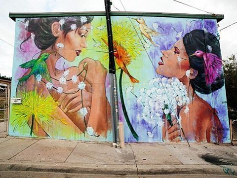 """bizarrebeyondbelief:  New mural by @alynnpaint in anticipation for new exhibition """"Seasons of Change"""" at @distinction_gallery. #amandalynn #streetart #mural #distinctiongallery"""