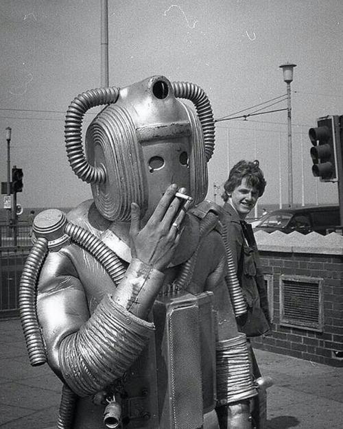 speeding54:  c. 1975. Smoking Cyberman on the set of Doctor Who.