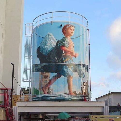 coloursxart:  Glass Half Full by Fintan Magee - Located in San Juan, Puerto Rico