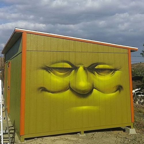 bizarrebeyondbelief:  @vyalone getting us ready for a nice sunny weekend. #vyalone #streetart #graffiti