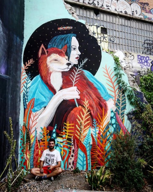 streetartglobal:  This beauty of a wall was painted at Plaza de La Cebada by @mazzolandia for @madridstreetartproject last month. We love those colours. http://globalstreetart.com/thiagomazza#globalstreetart #thiagomazza #mazzolandia #mural #streetarteverywhere #madridstreetartproject #madrid #spain https://www.instagram.com/p/BI5jR_xDyvL/
