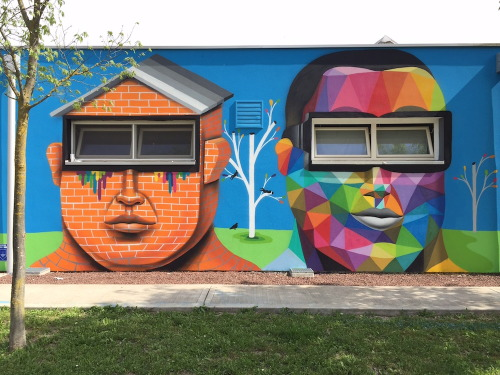 widewalls-artmagazine:   Where Okuda San Miguel appears, a portal to different world opens - Okuda visited & transformed the walls of an Italian kindergarten into a prismatic fairytale http://www.widewalls.ch/artist/okuda/