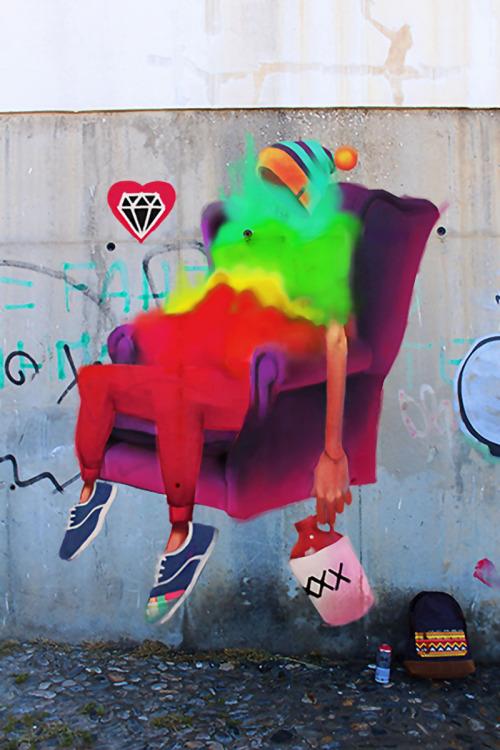 veryprivateart:Street Art by Cheko  El Sofa, 2013