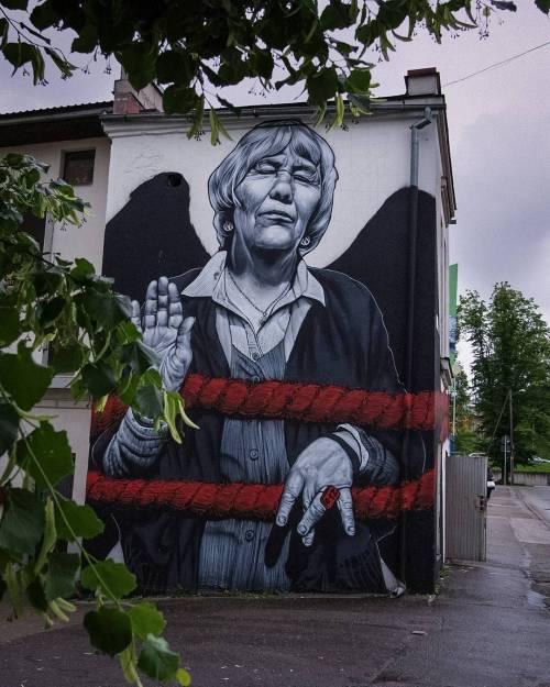 streetartglobal:  Making sense of stencibility: Estonia's most diverse Street art festival. Link in bio! @mtograff #globalstreetart #paintedcities #urbanwalls https://www.instagram.com/p/BLg4Ih0jkst/