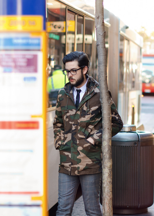 Camo in the city.Similar look: Suit Two Tone Fisherman Jacket.