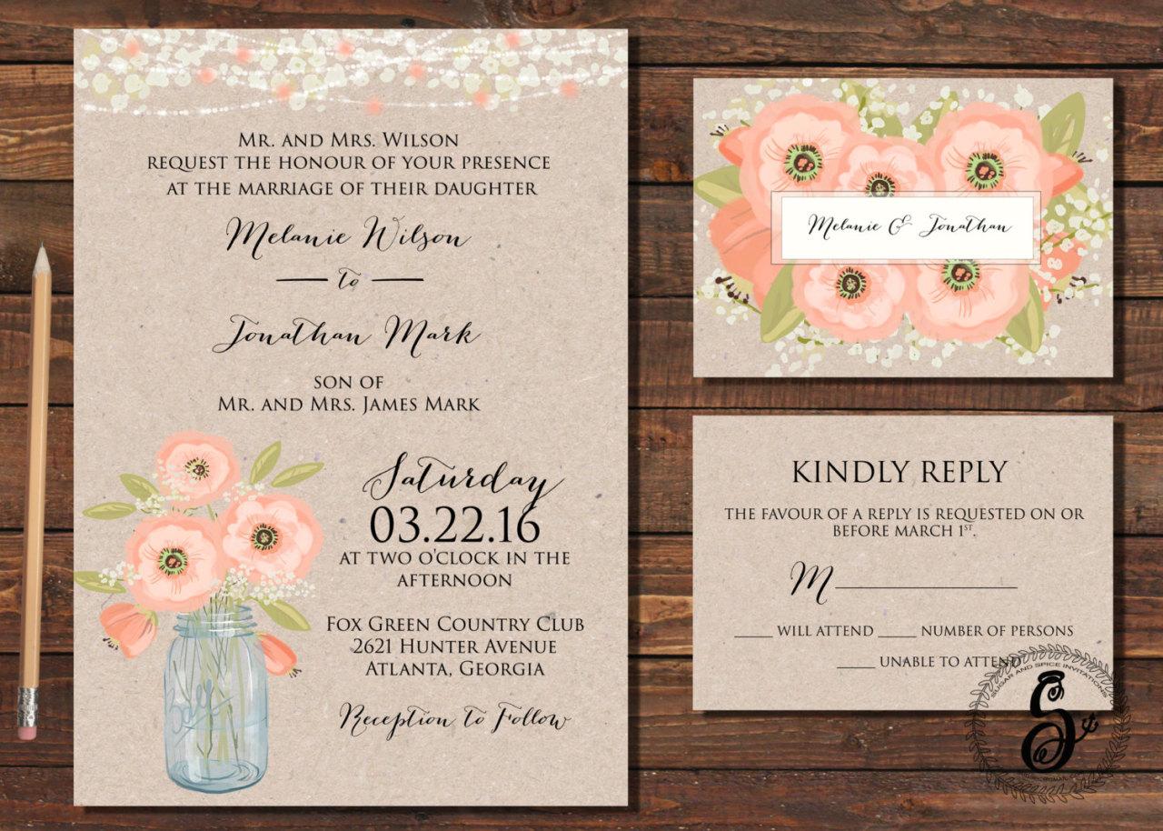 2 mason jar wedding invitations Rustic Wedding Invitation Printable Spring Wedding Invitation Mason Jar Wedding Invitation Country Wedding