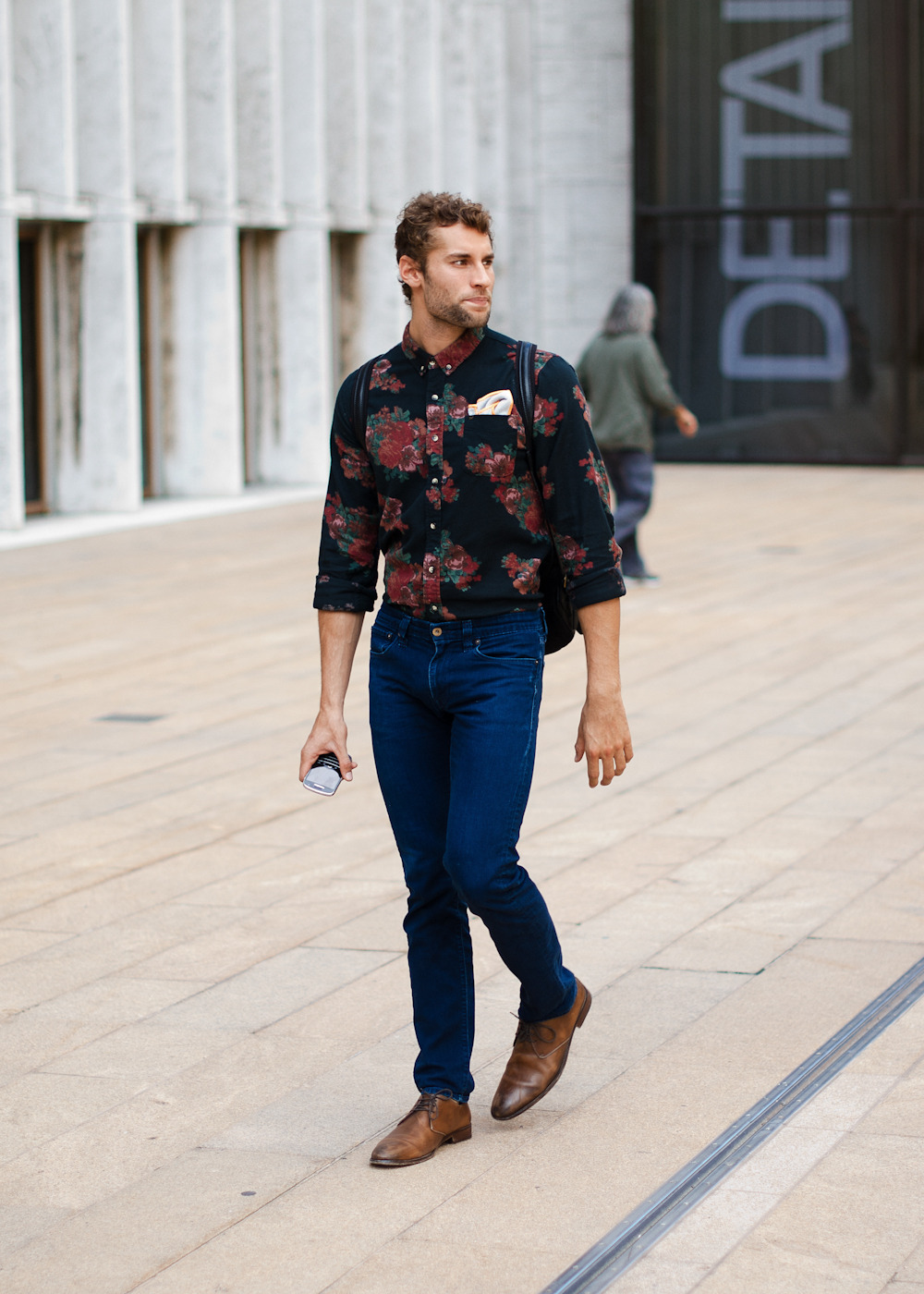 Mixing it up.Similar look: Obey Men's The Marcel Buttondown shirt (as shown).