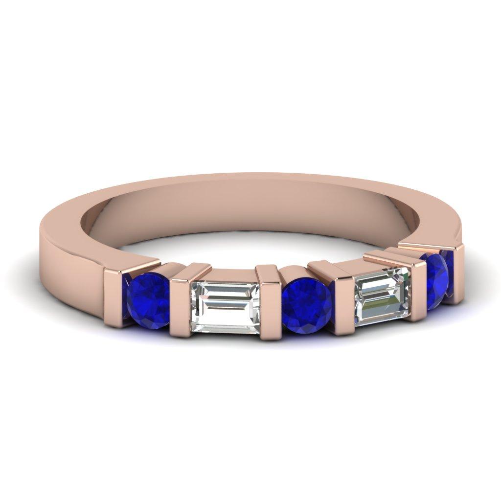 diamond wedding ring with sapphire sapphire wedding bands Diamond wedding ring with sapphire 21ct E Vs Blue Sapphire Round Cut Diamond Wedding Band