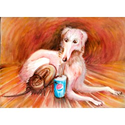 Small Crop Of Funny Dog Eat A Pepsi