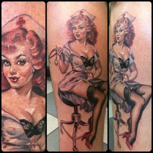 #pinup #nurse #naughtynurse #tattoo #tattoos #colortattoo #eternaltattooink @broadstreettattoo thanks for looking!