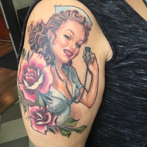 Thanks Loren #pinup #pinuptattoo #doctortattoo #cardiology #nurse #nursepinup (at Broad Street Tattoo Parlour)