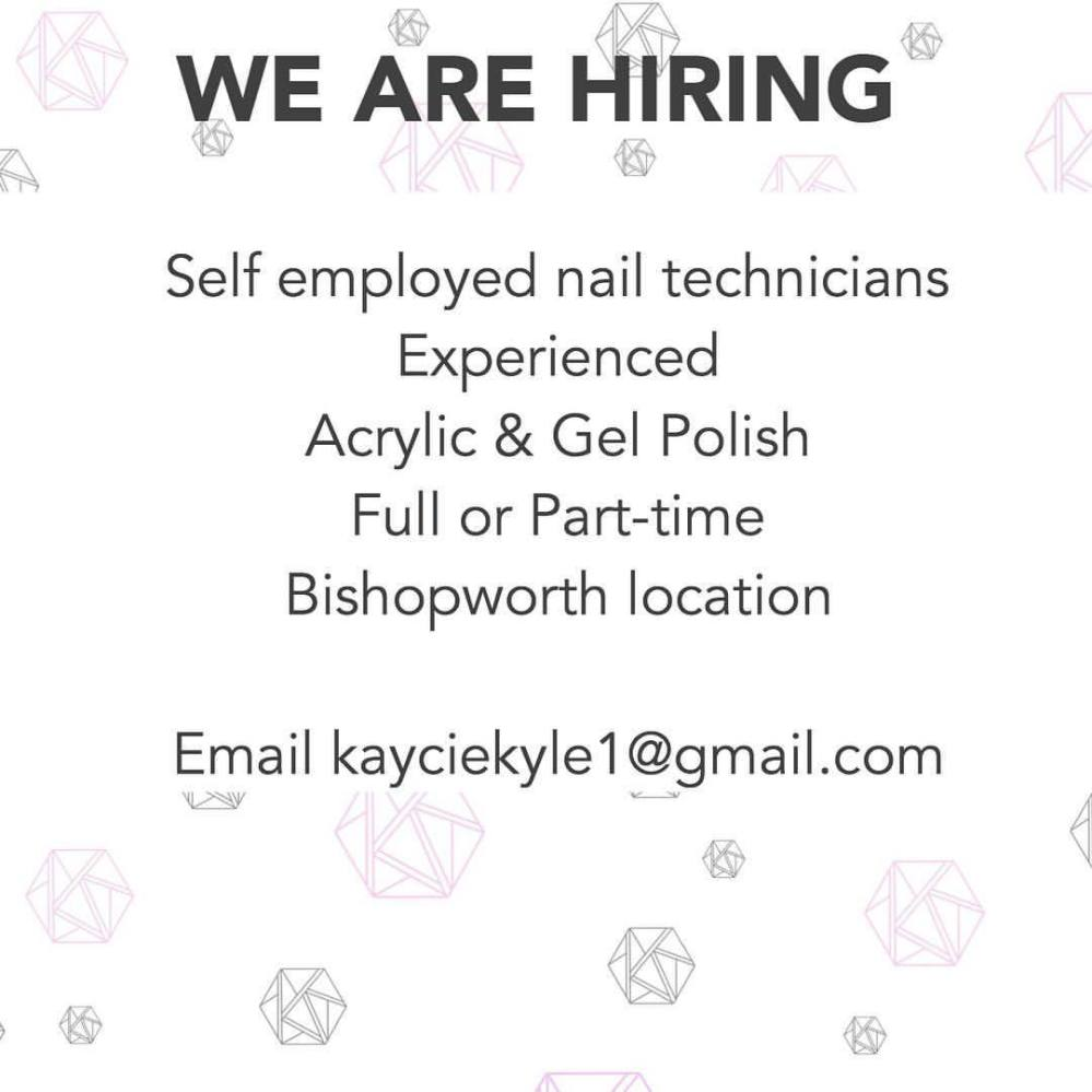 We are looking for someone who loves nails, who is creative and want to join our team