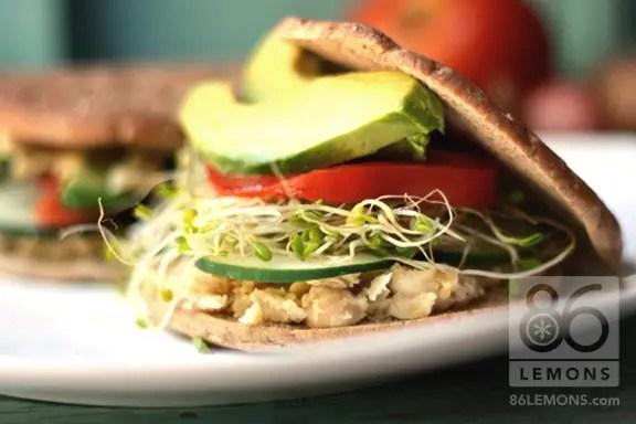 Smashed White Bean and Avocado Sandwich (vegan, gf)