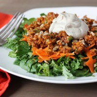 Leafy Greens with BBQ Walnut Crumble (vegan, gf, raw)