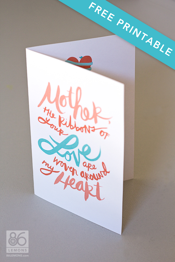 Mother's Day Card #freeprintable #diy #freedownload 86lemons.com