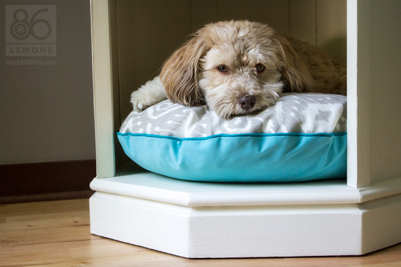 Dog bed made from old side table. #repurpose #furniture #dogbed #sewing #chalkpaint