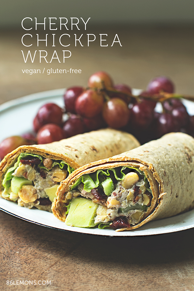 Cherry Chickpea Salad Wrap with creamy cashew dressing  #vegan #glutenfree (1)